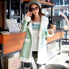 Dabuwawa - Fleece-Trim Plaid Coat