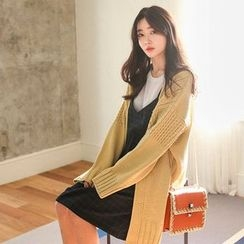 Seoul Fashion - Open-Front Cable-Knit Cardigan