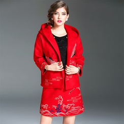 Y:Q - Set: Embroidered Hooded Jacket + A-Line Skirt