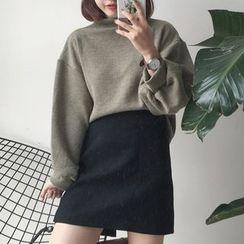 Cloud Nine - Lantern Sleeve Mock Neck Sweater