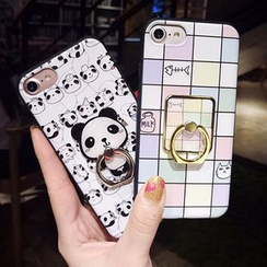 Heptacolor - 手机保护套连熊猫指环支架 - iPhone 7 / 7 Plus / 6s / 6s Plus