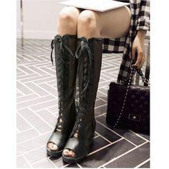 Freesia - Lace Up Peep-toe Tall Boots