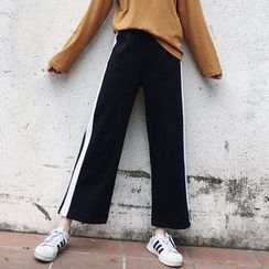 MePanda - Contrast Trim Wide Leg Sweatpants