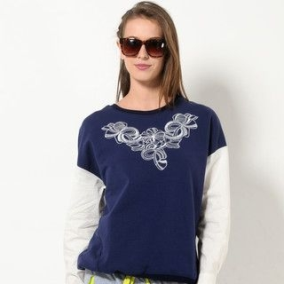 YesStyle Z - Embroidered Shirt-Sleeve Pullover
