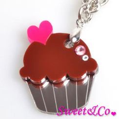 Sweet & Co. - Sweet&Co Mini Chocolate Cupcake Crystal Silver Necklace
