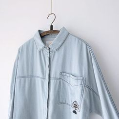 Bonbon - Appliqué Washed Denim Shirt