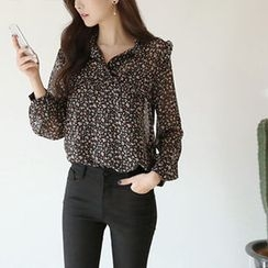 Hello sweety - Frill-Trim Patterned Chiffon Blouse