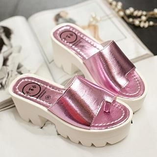 SouthBay Shoes - Toe-Loop Platform Slide Sandals