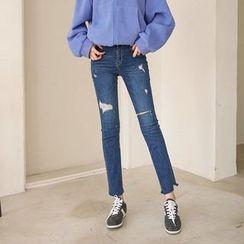 Seoul Fashion - Distressed Straight-Cut Jeans