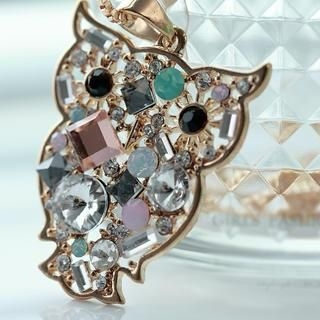 Cuteberry - Rhinestone Owl Necklace