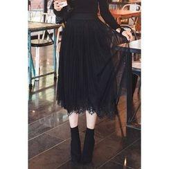 migunstyle - Lace-Trim Tulle Midi Skirt
