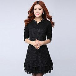 Lavogo - Long-Sleeve Lace Panel Dress