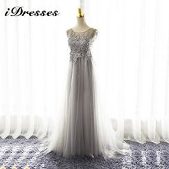 idresses - Embellished Lace Panel Tulle Evening Gown
