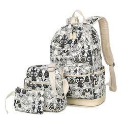 VIVA - Set of 3: Owl Print Backpack + Crossbody Bag + Pouch