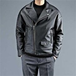 THE COVER - Faux-Leather Zip Rider Jacket
