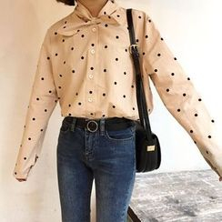 Cloud Nine - Bow Dotted Long-Sleeve Blouse