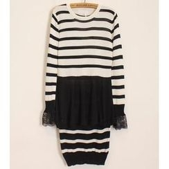 Momewear - Set: Lace-Cuff Striped Knit Top + Skirt