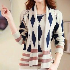 anzoveve - Diamond Pattern Knit Top