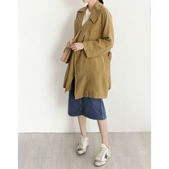 UPTOWNHOLIC - Open-Front Trench Coat With Sash