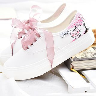 BUDING - Cat Print Lace Up Sneakers