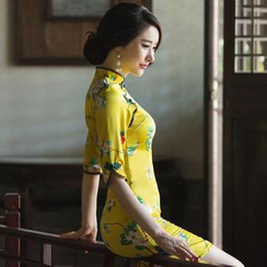 Miss Four Qipao - Elbow-Sleeve Floral Cheongsam