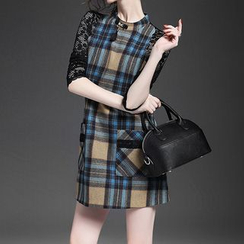 Alaroo - 飾蕾絲格子直身連衣裙