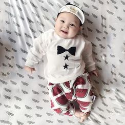 MOM Kiss - Baby Set : Print Long-Sleeve T-shirt + Pants