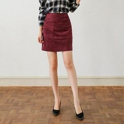 Seoul Fashion - Faux-Suede A-Line Mini Skirt