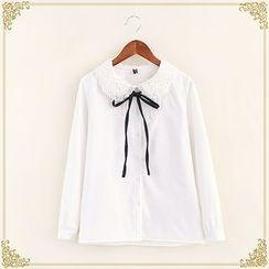 布衣天使 - 蕾絲領長袖襯衫