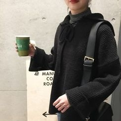 Sinbounboun - Tie Front Oversized Sweater