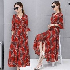 Ekim - 3/4-Sleeve Floral A-Line Midi Dress