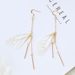 Gold Beam - Feather Drop Earrings/ Clip-On Earrings