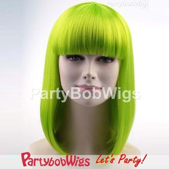 Party Wigs - PartyBobWigs - 派對BOB款中長假髮 - 螢光青色