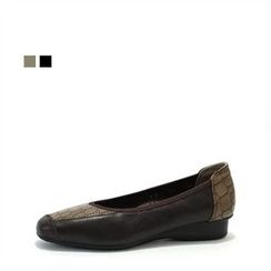 MODELSIS - Genuine Leather Python-Patterned Flats
