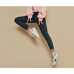 HOTPING - Banded-Waist Fray-Hem Jeans
