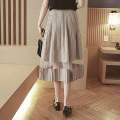 Mida - Sheer Panel Pleated Midi Skirt