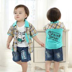 KUBEBI - 童裝套裝: 格子拼接短袖襯衫 + 短褲