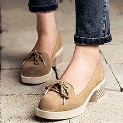 MIAOLV - Genuine Leather Lace Up Pumps
