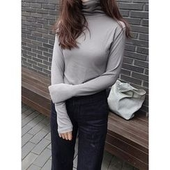 maybe-baby - Turtle-Neck Plain Top