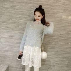 Honeydew - 蕾絲拼接針織連衣裙