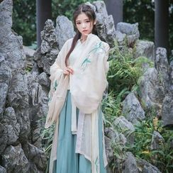 Jade Dragon - Long Jacket / Long-Sleeve Top / Maxi Skirt / Waist Belt