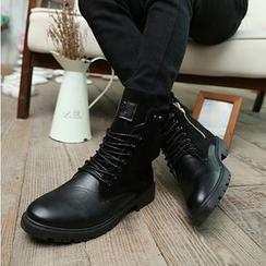Preppy Boys - 仿皮系带短靴