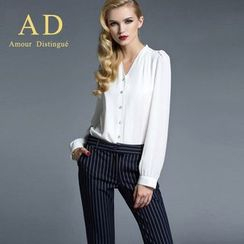 Aision - Chiffon Blouse / Striped Trousers