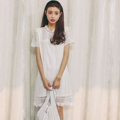 SUYISODA - Lace Short-Sleeve Dress