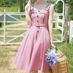 trendedge - Gingham Strap Dress