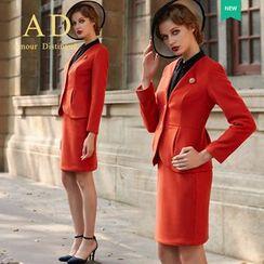 Aision - Chiffon Blouse / Pencil Skirt / Blazer