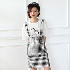 Mini Jule - Paperbag-Waist Patterned Suspenders Skirt