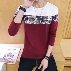SICRIT - Floral Print Colour Block Long-Sleeve T-shirt