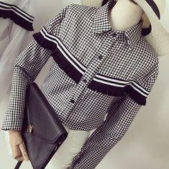 Honeydew - 皱摺边格子衬衣