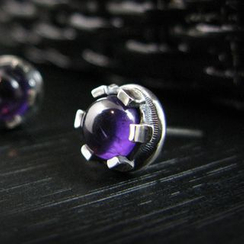 Sterlingworth - Amethyst Sterling Silver Single Earring